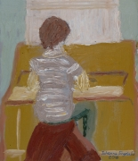 Johanna Engdahl-Playing the piano-Oil on linen canvas-21cmHx18cmW-250E